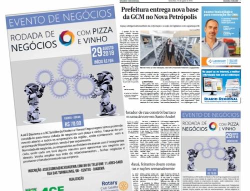 Anúncio para o Jornal – Diário Regional – Rodada de Negócios